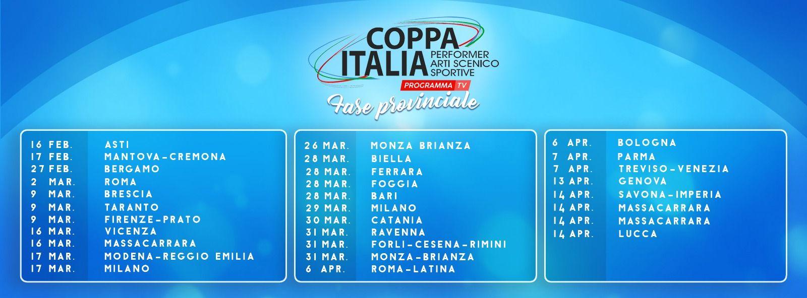 Coppa Italia Calendario.Coppa Italia Performer Arti Scenico Sportive Metodo Pass Csain